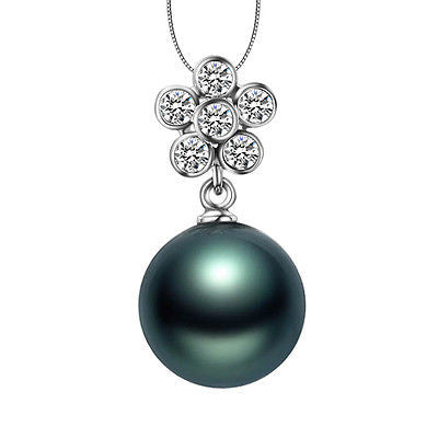 12mm Black Tahitian Pearls 18K White Gold VS-SI Diamonds pendant for Necklace - Lord of Gem Rings - 1