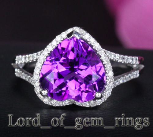 Heart Shaped Amethyst Engagement Ring Pave Diamond Wedding 14k White Gold 11mm - Lord of Gem Rings - 1