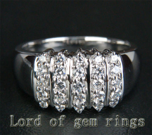 Unique Natural .55CT Diamond Solid 14K White Gold Wedding Band Ring 6.57g Size 6 - Lord of Gem Rings - 1