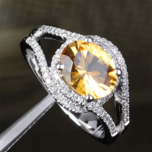 Oval Citrine Engagement Ring Pave Diamond Wedding 14K White Gold 7x9mm - Lord of Gem Rings - 1