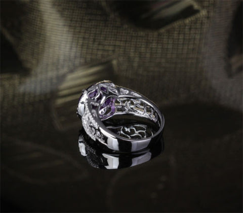 ... Oval Dark Purple Amethyst Engagement Ring Pave Diamond Wedding 14k  White Gold 9x11mm   Lord Of ...