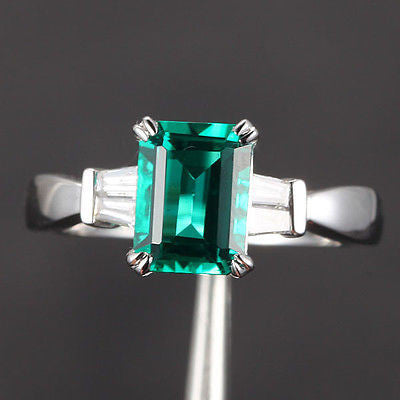 Emerald Cut Emerald Engagement Ring VS Baguette Diamond Wedding 14K White Gold 6x8mm  Claw Prongs - Lord of Gem Rings - 1