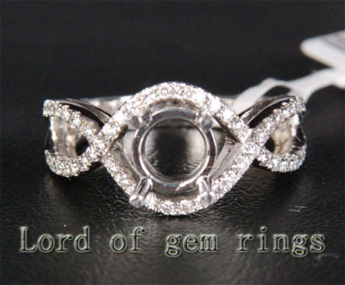 Diamond Engagement Semi Mount Ring 14K White Gold Setting Round 6.4-6.6mm - Lord of Gem Rings - 1