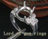 Unique 9x11mm Diamonds Semi Mount Engagement Ring Oval Cut 14K White Gold 3.75g - Lord of Gem Rings - 2