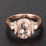 Oval Morganite Engagement Ring Diamond 14K Rose Gold 6x8mm - Lord of Gem Rings - 1