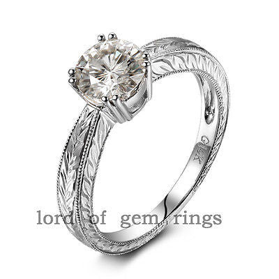 Round Moissanite Engagement Ring 14K White Gold 6.5mm  Hot Hand Engraved Scroll - Lord of Gem Rings - 1