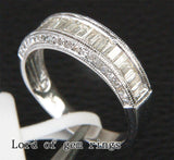 Baguette Diamond Wedding Band Engagement Ring 14K White Gold 1.28CT Channel - Lord of Gem Rings - 2
