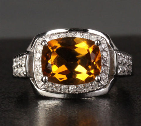 Cushion Citrine Engagement Ring Pave Diamond Wedding 14K White Gold 8x10mm - Lord of Gem Rings - 1