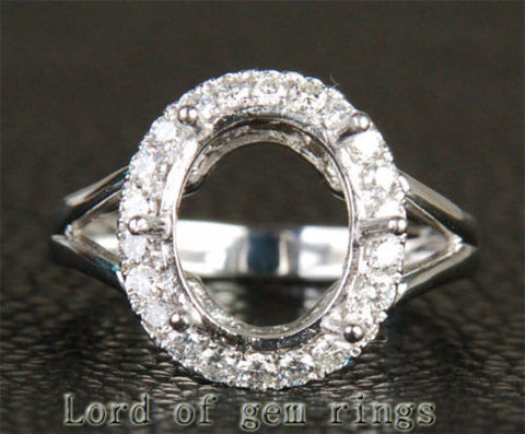 Diamond Engagement Semi Mount Ring 14K White Gold Setting Oval 10x12mm - Lord of Gem Rings - 1