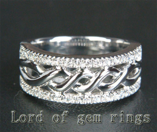 Unique Pave .28ctw Diamonds Solid 14K White Gold Wedding Band Ring 7.89g! Size 7 - Lord of Gem Rings - 1