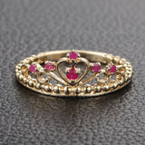 Red Crown Rubies Engagement Ring Anniversary Band in 14K Yellow Gold - Lord of Gem Rings - 2