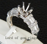 Diamond Engagement Semi Mount Ring 14K White Gold Setting Round 6.3-6.7mm Channel - Lord of Gem Rings - 2