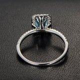 Emerald Cut Aquamarine Engagement Ring Pave Diamond Wedding 14K White Gold 5x7mm Claw Prongs - Lord of Gem Rings - 3