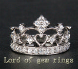 Diamond Wedding Band Engagement Ring 14K White Gold Heart Crown - Lord of Gem Rings - 3