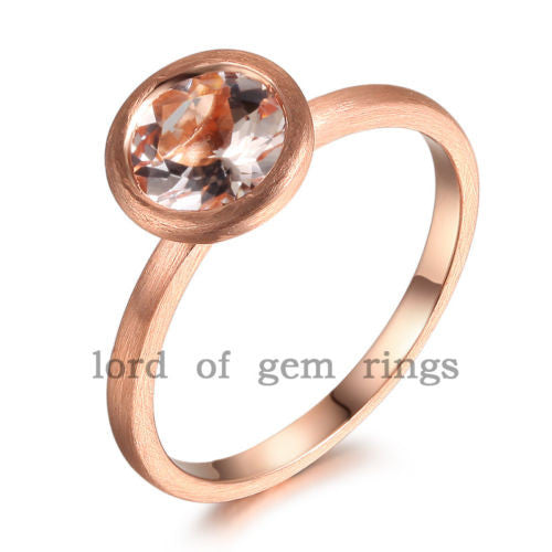 Round Morganite Engagement Ring 14K Rose Gold 7mm Bezel - Lord of Gem Rings - 1