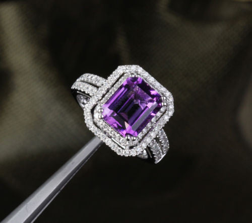 Emerald Cut Amethyst Engagement Ring Pave Diamond Wedding 14k White Gold 8x10mm Double Halo - Lord of Gem Rings - 1
