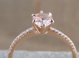 Reserved for AAA  French V pave Diamond semi mount  Ring 14k Rose Gold Roud