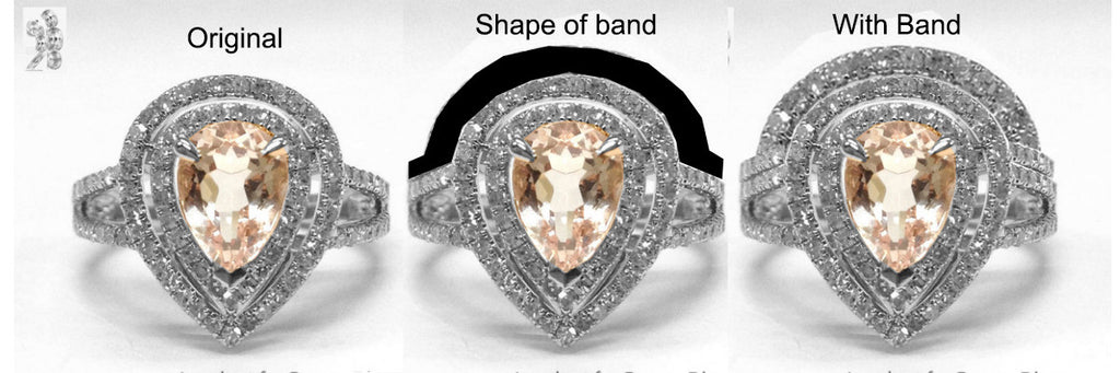 Reserved for Brebt Custom Matching band for  Pear Morganite Engagement Ring - Lord of Gem Rings - 1