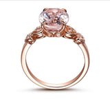 Oval Morganite Engagement Ring Pave Diamond 14K Rose Gold 8x10mm Heart Shank - Lord of Gem Rings - 3