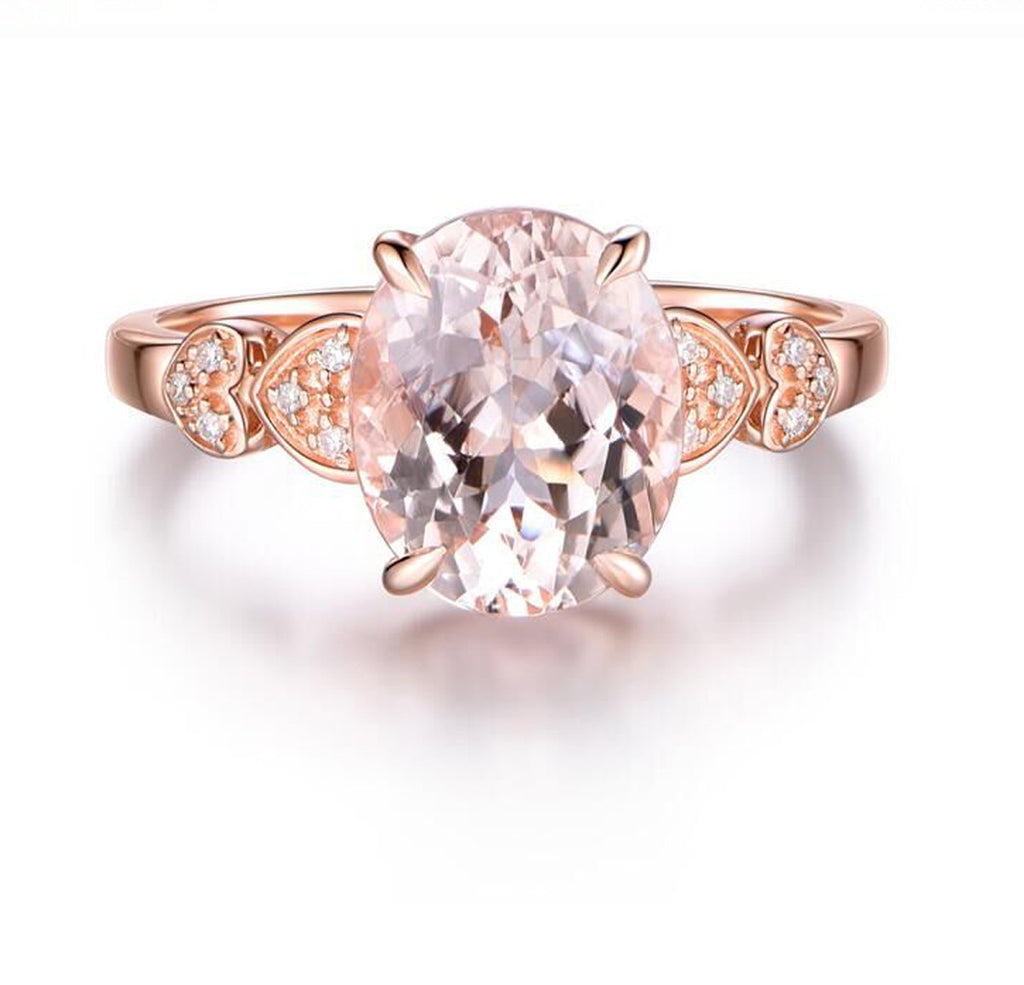 Oval Morganite Engagement Ring Pave Diamond 14K Rose Gold 8x10mm Heart Shank - Lord of Gem Rings - 2