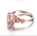 Oval Morganite Engagement Ring Pave Diamond 14K Rose Gold 8x10mm Heart Shank - Lord of Gem Rings - 5