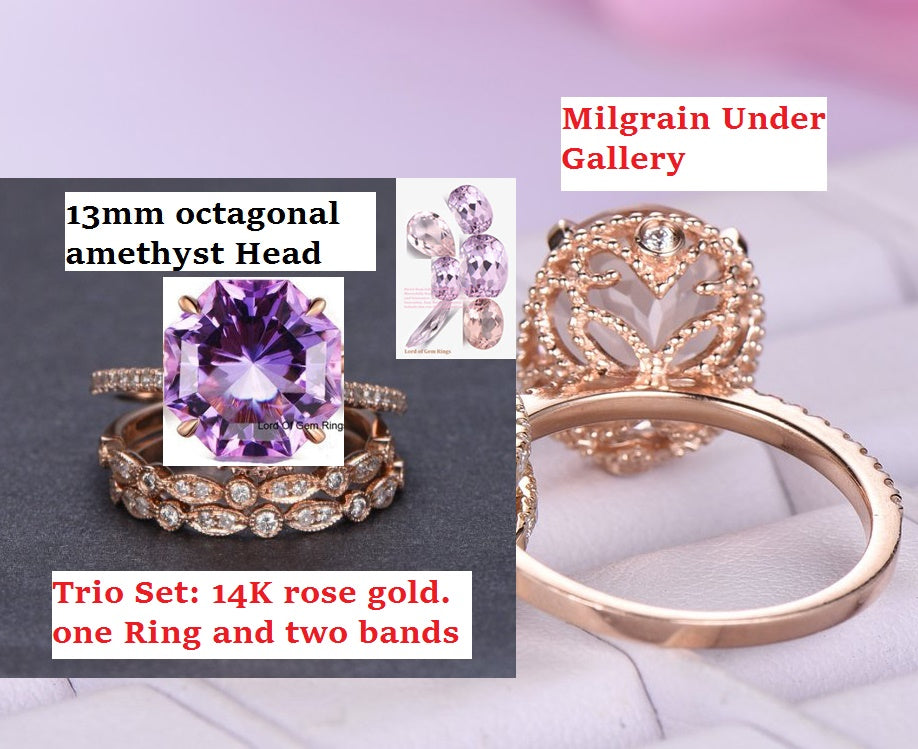 Reserved for Alisha octagonal amethyst Ring Tiro Sets Art Deco Bands Milgrain Under Gallery 14K Yellow Gold 13mm
