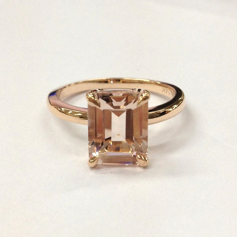 Reserved for andreamiriam Emerald Cut Morganite Engagement Ring 14K Rose Gold 9x11mm - Lord of Gem Rings - 1