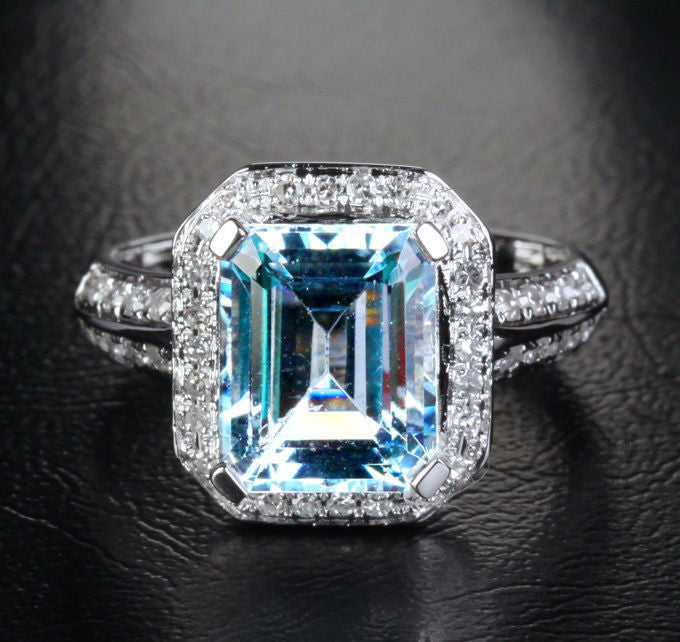 Reserved for  Itu, Emerald Cut Aquamarine Engagement Ring 14K White Gold - Lord of Gem Rings - 1