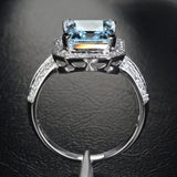 Reserved for  Itu, Emerald Cut Aquamarine Engagement Ring 14K White Gold - Lord of Gem Rings - 2