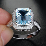 Reserved for  Itu, Emerald Cut Aquamarine Engagement Ring 14K White Gold - Lord of Gem Rings - 3