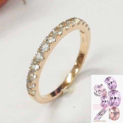 Aquamarine Wedding Band Half Eternity Anniversary Ring 14K Rose Gold - Lord of Gem Rings - 1