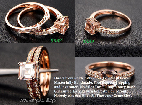 Asscher Morganite Engagement Ring Sets Pave Diamond Wedding 14K Rose Gold 6.5mm - Lord of Gem Rings - 1