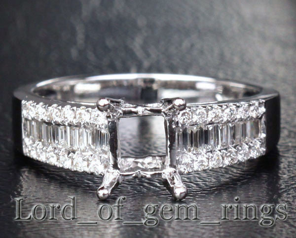 Reserved for ca2014-jacq, 1st payment, Size 5.5, 14K White Gold, 7x9mm emerald cut Semi Mount - Lord of Gem Rings - 1