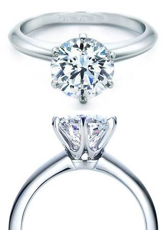 6 Prong 14K white gold Semi Mount Ring for round stone