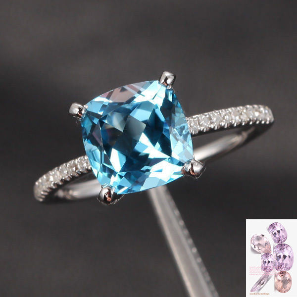 Ready to Ship-8x8mm Cushion Aquamarine Engagement Ring Pave Diamond in 14K White Gold - Lord of Gem Rings - 1