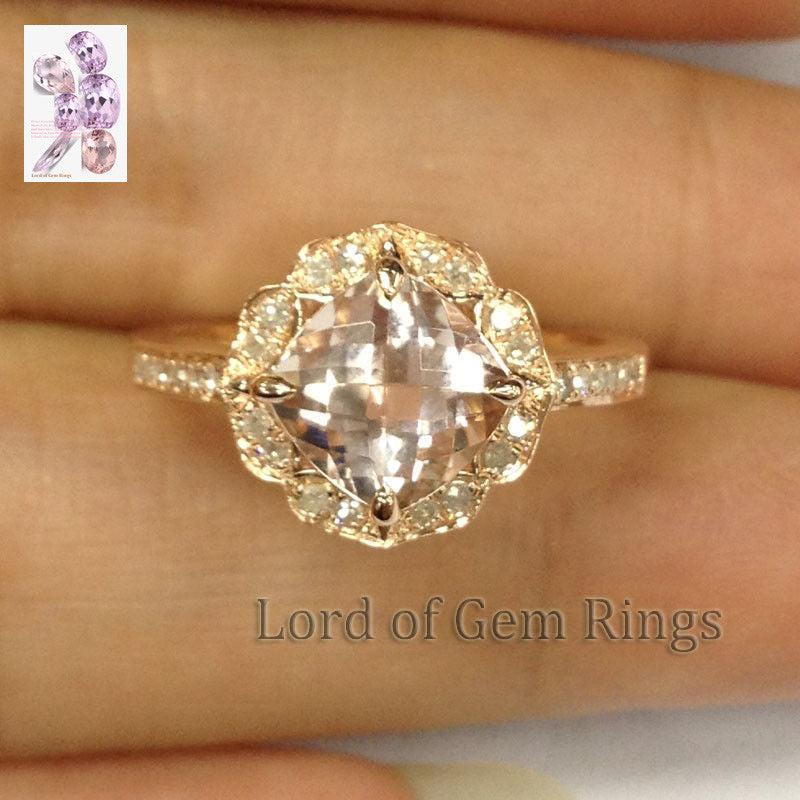 Cushion Morganite Engagement Ring Diamond 14K Rose Gold Vintage Floral Design 7mm - Lord of Gem Rings - 1