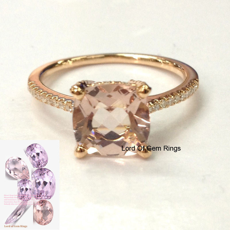 Cushion Morganite Engagement Ring Pave Diamond Wedding 14K Rose Gold 8mm, Diamonds on Prong - Lord of Gem Rings - 1