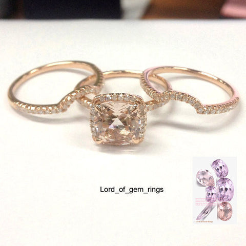 Cushion Morganite Engagement Ring Trio Sets Diamond Wedding 14K Rose Gold 8mm - Lord of Gem Rings - 1