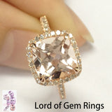 Cushion Morganite Engagement Ring Pave Diamonds Wedding 14K Rose Gold 8mm - Lord of Gem Rings - 1