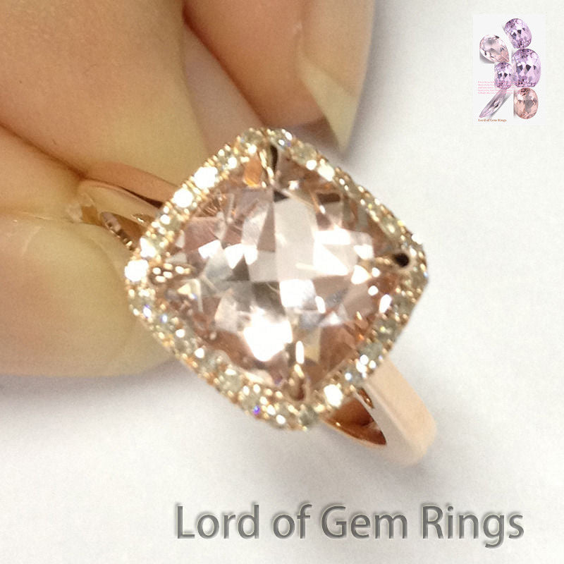 Ready 2 Ship: Cushion Morganite Engagement Ring Pave Diamond Halo 14K Rose Gold 8mm: 14KR-CuMorg-WebBse - Lord of Gem Rings - 1