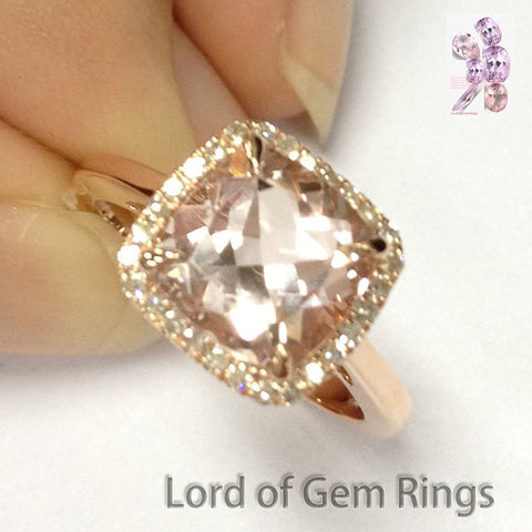 Cushion Morganite Engagement Ring Pave Diamond Halo 14K Rose Gold 8mm - Lord of Gem Rings - 1