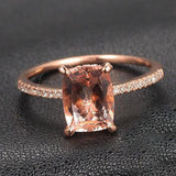 Cushion Morganite Engagement Ring Pave Diamonds Wedding 14K Rose Gold 6x8mm CLAW PRONGS - Lord of Gem Rings - 1