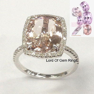 Cushion Morganite Engagement Ring Pave Diamond 14K White Gold 10x12mm - Lord of Gem Rings - 1