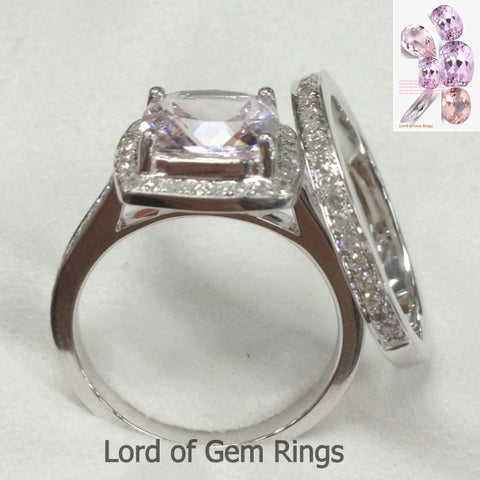 Cushion Morganite Engagement Ring Sets Pave Diamond Wedding 14K White Gold 7mm - Lord of Gem Rings - 1