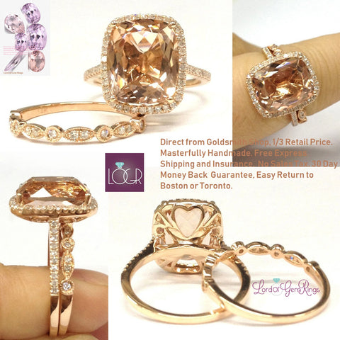 Cushion Morganite Engagement Ring Sets Diamond Art Deco Band 14K Rose Gold 10x12mm
