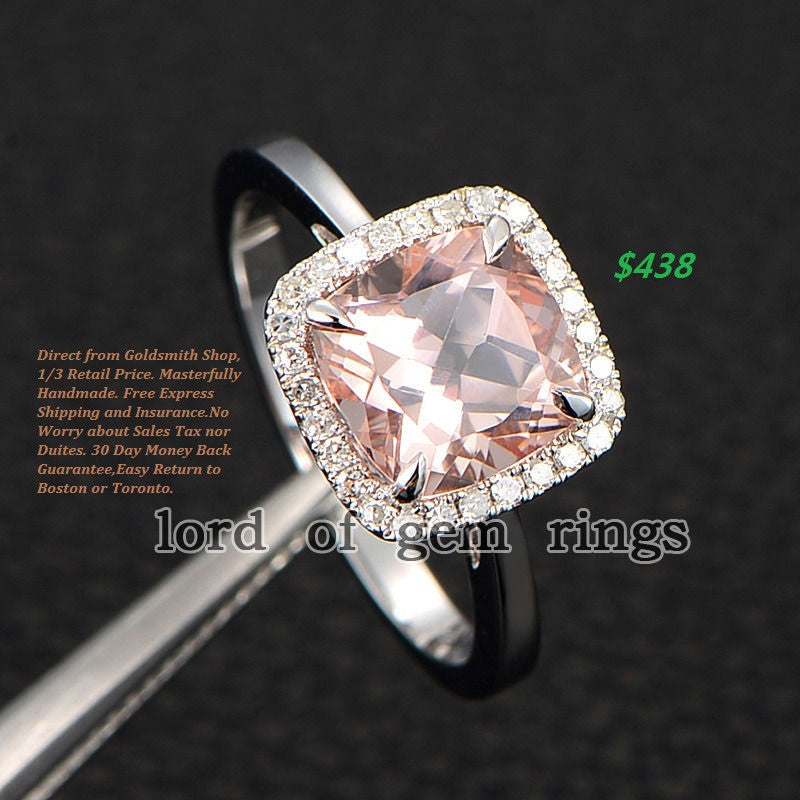 Ready to Ship - Cushion Morganite Engagement Ring Pave Diamond Halo 14K Rose Gold 8mm: 14KW-CuMorg-WebBse - Lord of Gem Rings - 1
