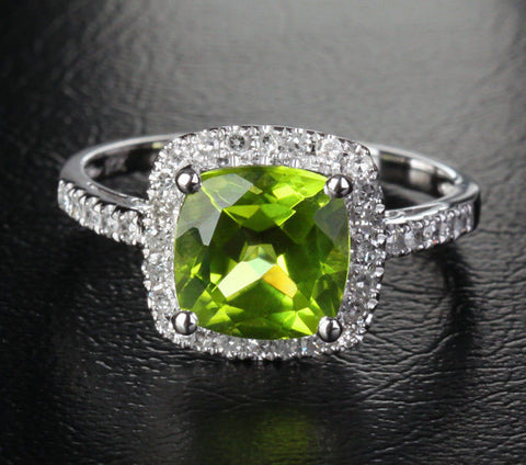 Cushion Peridot Engagement Diamond Ring 14K Gold 8mm - Lord of Gem Rings - 1