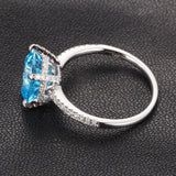 Ready to Ship-8x8mm Cushion Aquamarine Engagement Ring Pave Diamond in 14K White Gold - Lord of Gem Rings - 2