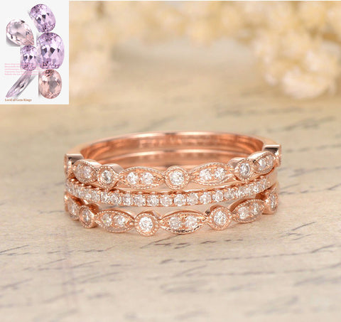 Pave Diamond Wedding Band Trio Sets Half Eternity Anniversary Ring 14K Rose Gold - Lord of Gem Rings - 1