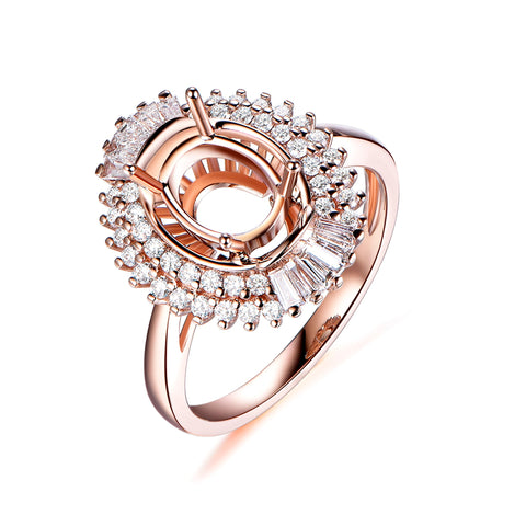 Oval 6x8mm Baguette and Round Diamond Double Halo Semi Mount Ring 14K Rose Gold